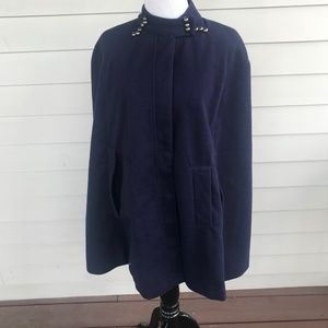 Azbro Navy Blue Wool Cape Steel Button Trim